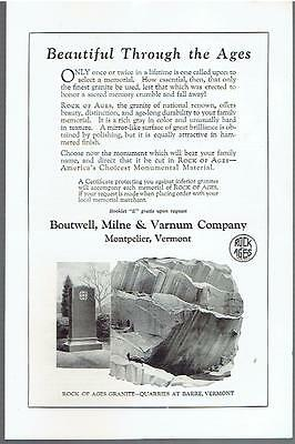 Vintage, Original, 1923 - Rock of Ages Granite Ad - Memorial, Monument