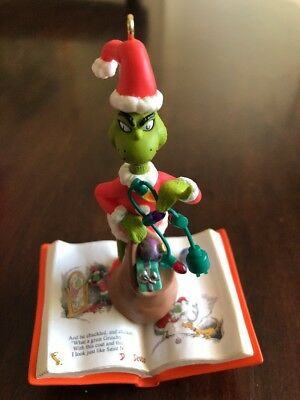 Hallmark Christmas Grinch Ornament Dr Seuss What Grinchy Trick How Stole 2001