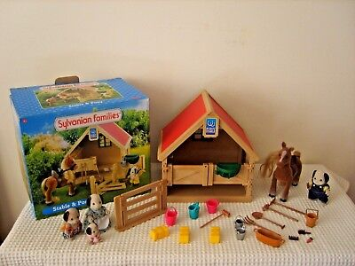 sylvanian families boxed stable,horse,family and accessories +extras