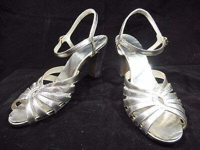 Vintage Gaymode Silver Metallic High Heel Open-Toe Strappy Sandals 1960s Size 9