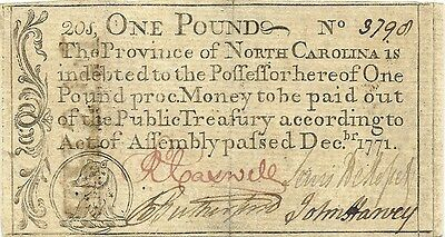1771 North Carolina Colonial 1 Pound American Revolution Currency ~ Extra Fine