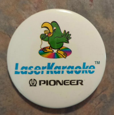 "Pioneer Laser Karaoke Singing Parrot Advertising Pinback 2 1/8"" 1980s"
