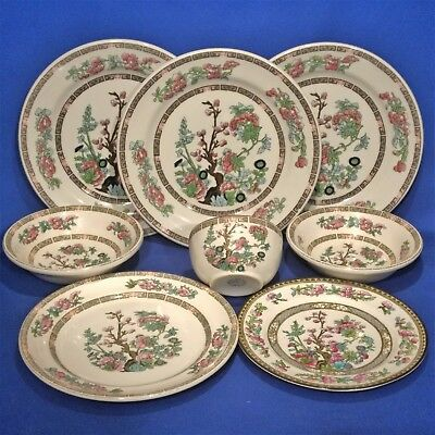 Vintage INDIAN TREE 8 Mixed Pieces - 5 Plates, 3 Bowls - WEDGWOOD / DOULTON  etc