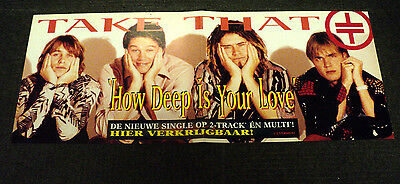 Take That Original Promo Shop Poster Dutch / Holland How Deep Is Your Love 1996