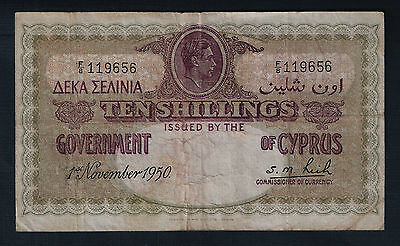 Cyprus Banknote 10 Shillings 1950 F