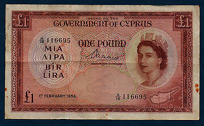 Cyprus Banknote 1 Pound 1956  F+