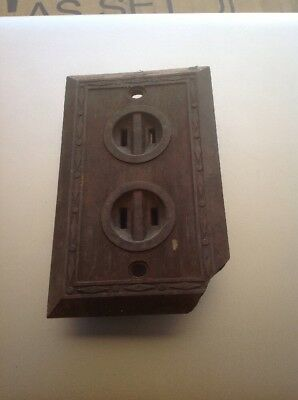 Vintage Leviton Bakelite Surface 2 Prong outlet Round Face Diamond Plate 1 piece