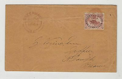 Canada: Cover in 1861, 5 cents, Beaver good. M*26