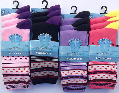 12 Pairs New Designed Ladies Women Cotton Lycra Rich Everyday Socks Uk 4-7