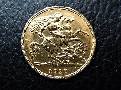GOLD HALF SOVEREIGN 1915 King George V Sydney mint very nice condition