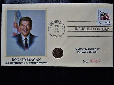 Rare President Ronald Reagan Gold coin 10 ct Mint condition First Day Cover 1981