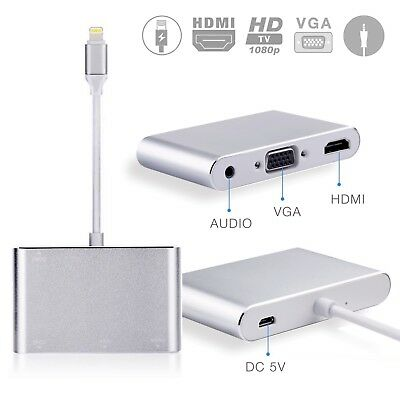 Digital AV Adapter Lightning to HDMI VGA Audio Jack Adapter for iPhone 7 & iPad