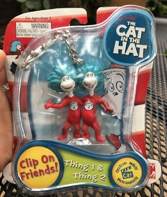 New Dr. Seuss Cat in the Hat Thing 1 & Thing 2 Clip-On Friends Keychain Backpack