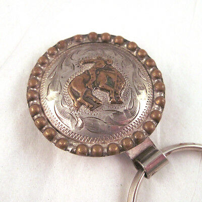 Vintage Clip Key Ring Bronco Rider Mexican Silver & Brass Hand Engraved
