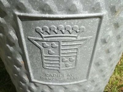 Vtg Large Galvanized Metal Cadillac Industrial Garage Wheeling Trash Can W/Lid