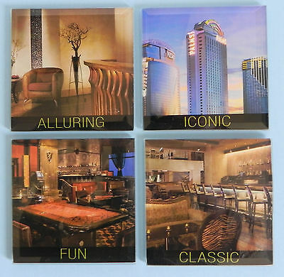 Set of 4 Glass Coasters Palms Resort Casino Las Vegas Gambling