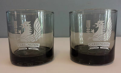 Carrington Distillery Ltd Set of 2 Smokey Color Mixed Drink Glasses w/logo