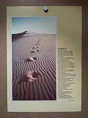 Argus Communications Footprints in the Sand Poster Religious Faith Vintage 1980s