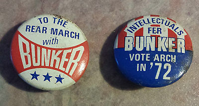 """Archie Bunker President Vote Arch in '72 1972 Set of 2 Pinback Buttons 7/8"""""""