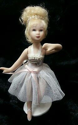 6'' Porcelain~BISQUE~Ballerina Doll on Stand-Blonde Hair withTUTU