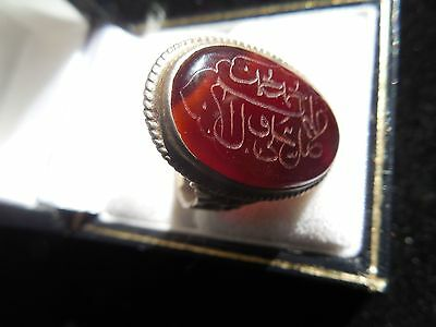 Vintage Sterling Silver Carnelian Agate Men's Ring With Arabic Writing
