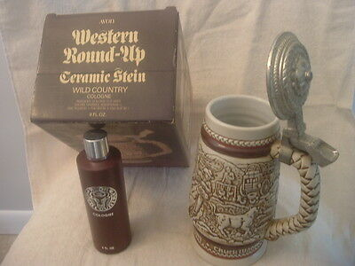 1980 AVON Western Round-Up Ceramic Stein
