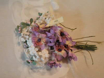 """Vintage Millinery Flower Collection 1-1/2"""" Lilac White Purple German H1626"""