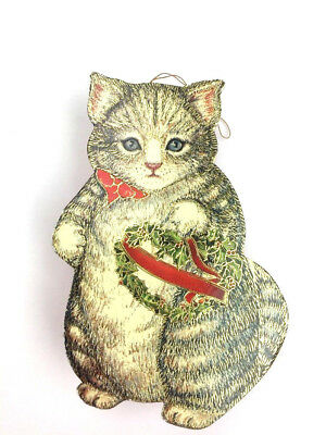 Vintage 1988 Kitty Cucumber Hanging Kitten Ornament Trinket Gift Box Cat Lovers