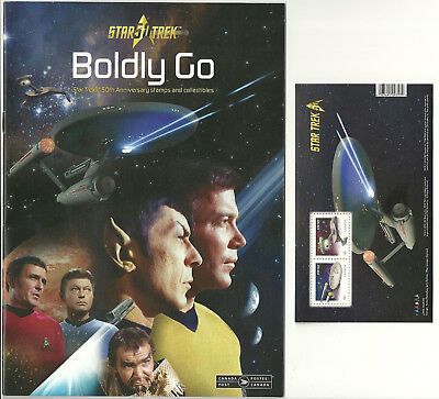 "Star Trek Souvenir Sheet of Two (2) Stamps, & the ""Boldly Go"" Details Magazine"
