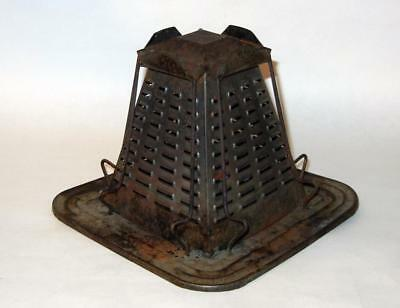 """Vintage 4-Slice Camping or Stovetop Metal Toaster - Rusty Decor - 6.5""""x6.5""""x5"""""""