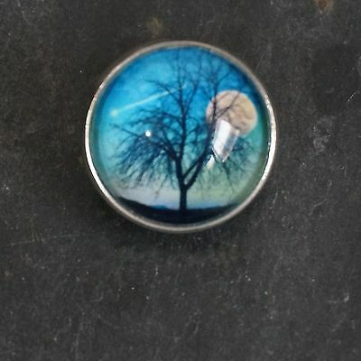 Round Glass Brooch/tie Clip/tree/night Tree/moon