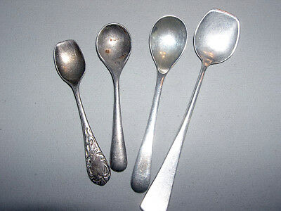 4x Asst Lot Sterling Silver Small Spoons~Salt Spoons~England, Mexico~21G