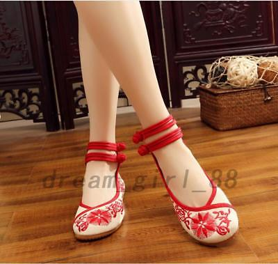 Chinese Traditional Embroidered Floral Shoes Flats Embroidery Ballerina Ballet