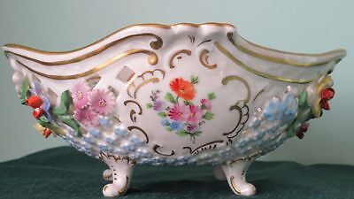 Carl Thieme Dresden Footed Reticulated Porcelain Bowl Germany ca. 1940s