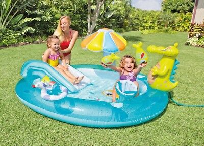 Intex Gator Play Centre Water Slide Sprayer Inflatable Kids Swimming Pool Toy
