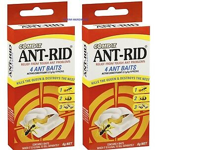 2 X Ant Rid Baits 4 Pack For Tough Ant Problems Kills The  Queen And Nest