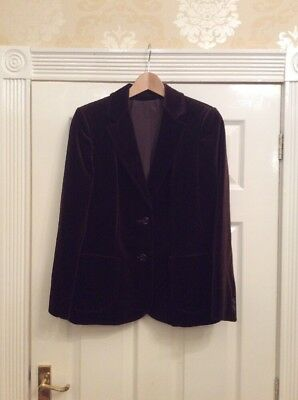 Vintage Marks And Spencer's Brown Velvet Blazer Jacket Uk 12 Excellent