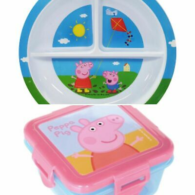 Peppa Pig Children's 2 Piece Feeding Set - Section Plate, Snack Box