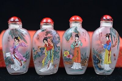 4pc Chinese folk Inside painted Beauties Fig glass snuff bottle