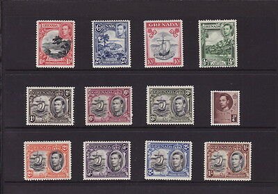 GRENADA 1938 KGVI DEFINITIVE Complete 12 STAMPS SET to 10s Colony Badge MINT LH