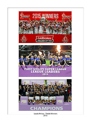 Large Treble Special 2015 Leeds Rhinos 16 X 12  High Quality Photo Challenge Cup