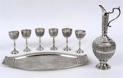 Mozafarian Jewellers Persian Silver Custom Made Vintage Liqueur Set