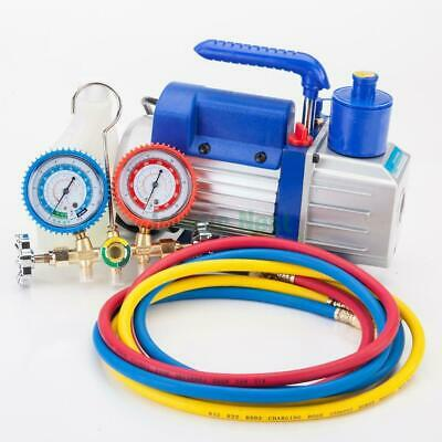 Manifold Gauge Hose Air Conditioner R134a R12 R22 + 3CFM Rotary Vane Vacuum Pump