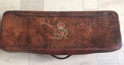 Georgian Brown Leather Antique Hunting Gun Case Trunk With Customised Brass Feet