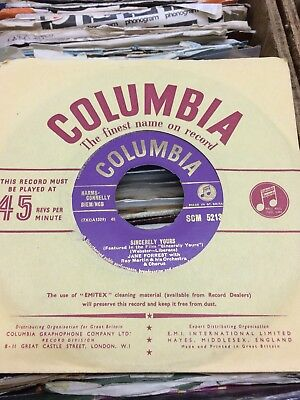 """Jane Forrest:""""sincerely Yours"""".1956 Columbia+Cover.uk Non-Hit.rarely Seen 45!"""