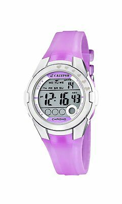 Calypso Girl's Digital Watch with LCD Dial Digital Display and Purple Plastic St