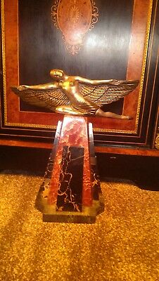 Art Deco statue spelter material, on marble base, beautiful piece, unsigned.