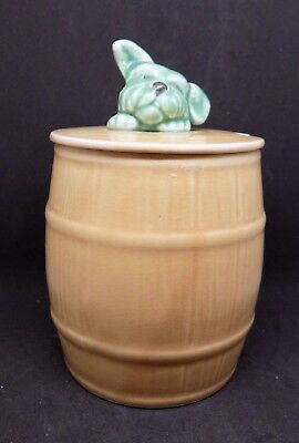 Sylvac dog in a barrel 1849 pottery green dog vintage retro jam preserve pot