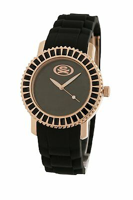 EX The Baguette Rose Gold Watch with Black Silicone Strap EX-33-L17