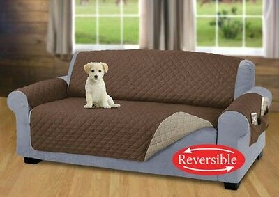 3 Seater Reversible Quilted Sofa Protector with pockets